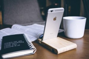 Notebook phone coffee